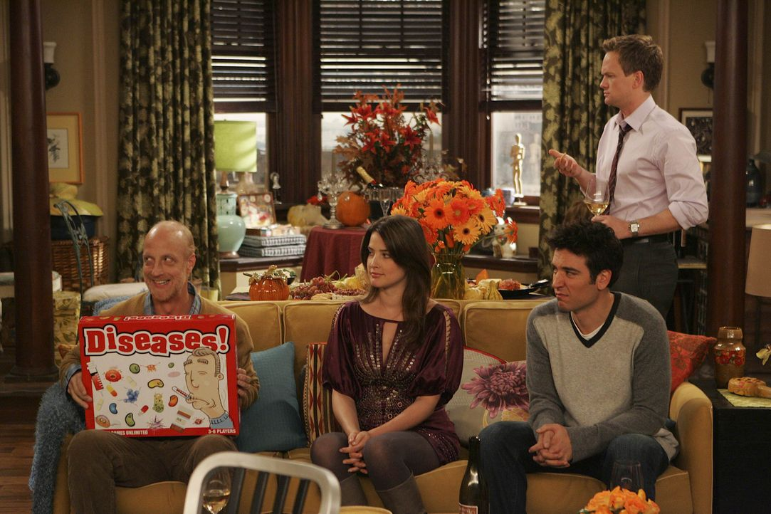 Lily und Marshall feiern zum ersten Mal in ihrer eigenen Wohnung Thanksgiving. Dazu laden sie ihre Freunde Ted (Josh Radnor, 2.v.r.), Barney (Neil P... - Bildquelle: 20th Century Fox International Television