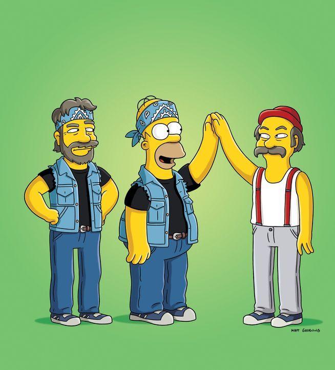 """Die Tour von """"Cheech & Chong"""" wird unterbrochen, da Tommy Chong aussteigt. Homer ist großer Fan des Duos und übernimmt seine Rolle. (v.l.n.r.) Cho... - Bildquelle: und TM Twentieth Century Fox Film Corporation - Alle Rechte vorbehalten"""