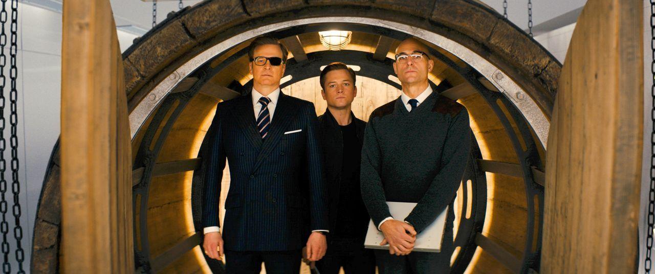 (v.l.n.r.) Harry Hart (Colin Firth); Eggsy (Taron Egerton); Merlin (Mark Strong) - Bildquelle: 2017 Twentieth Century Fox Film Corporation. All rights reserved.