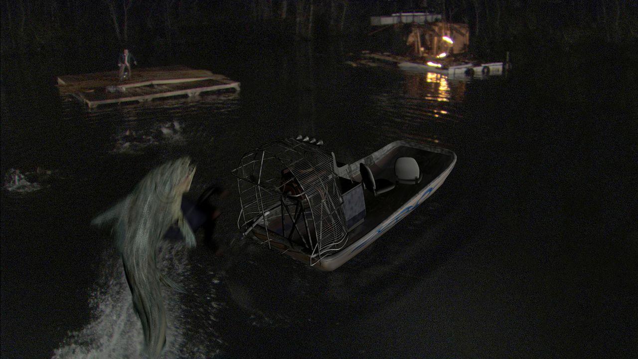 Der Killerfisch greift jeden und alles an, was sich bewegt. Ein Boot nach dem anderen wird zerstört und versenkt, doch auch an Land ist keiner sich... - Bildquelle: CPT Holdings, Inc. All Rights Reserved. (Sony Pictures Television International)