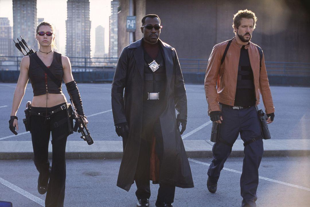 Vereint müssen Blade (Wesley Snipes, M.), Abigail Whistler (Jessica Biel, l.) und Hannibal King (Ryan Reynolds, r.) den von der Vampirfürstin Dani... - Bildquelle: New Line Cinema