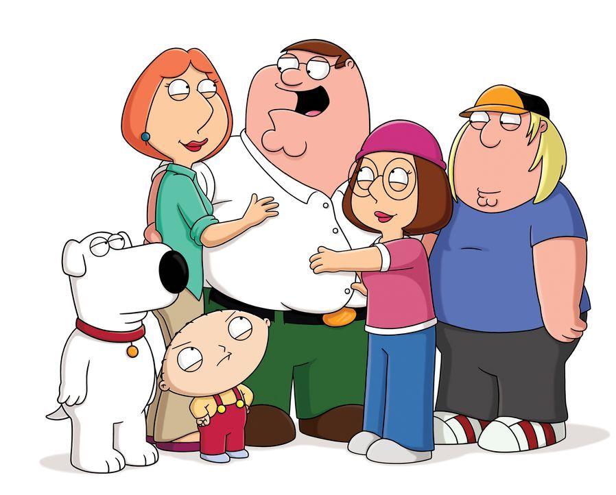 (13. Staffel) - Die Griffins - eine ganz besondere Familie: Chris (r.), Peter (3.v.r.), Lois (2.v.l.), Meg (2.v.r.), Brian (l.) und Stewie (3.v.r.). - Bildquelle: 2014 Twentieth Century Fox Film Corporation. All rights reserved.