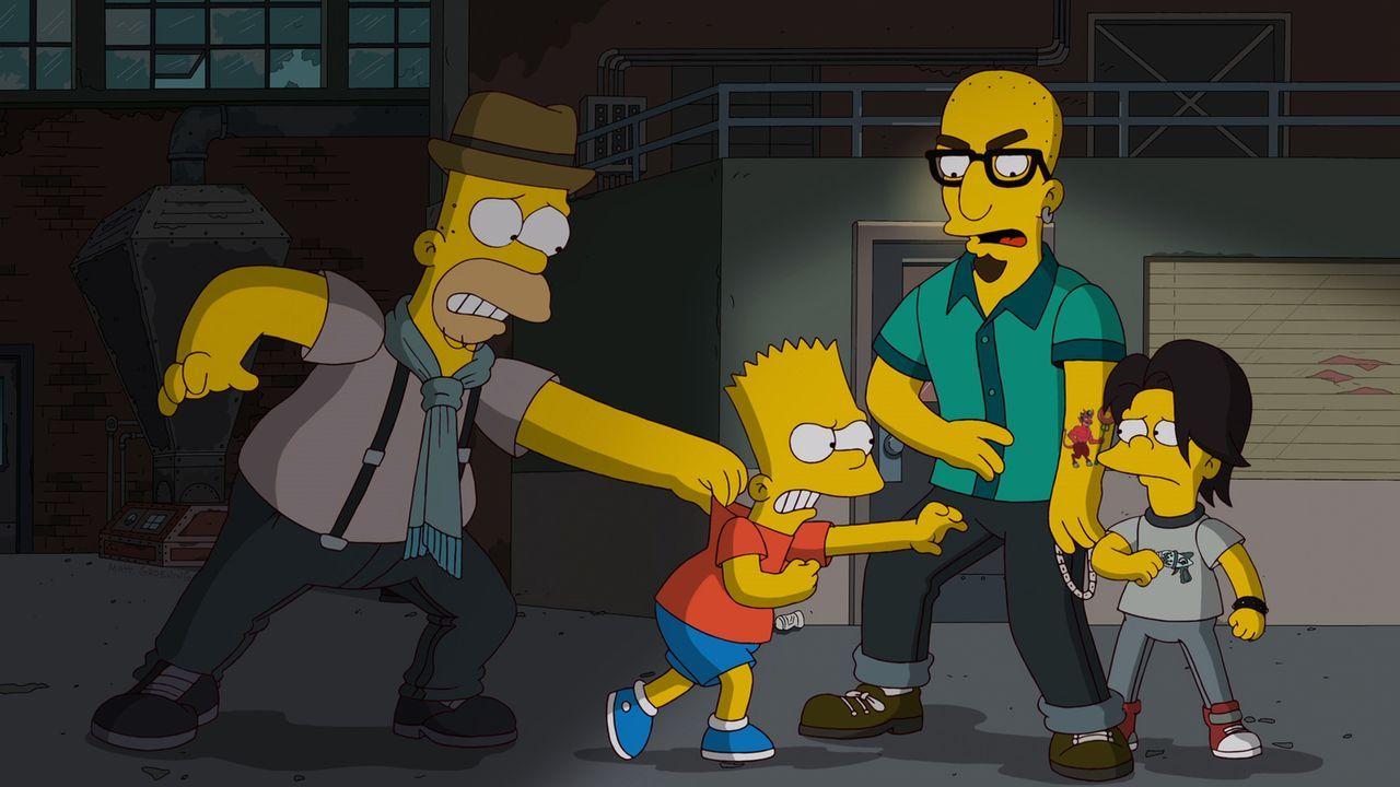 Während Homer (l.) den neuen Nachbarn Terence (2.v.r.) cool findet, kann Bart (2.v.l.) mit dessen Sohn T-Rex (r.) nichts anfangen. Probleme sind vor... - Bildquelle: und TM Twentieth Century Fox Film Corporation - Alle Rechte vorbehalten