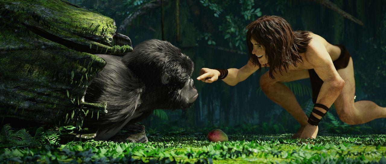 Fortbewegend, wie ein Affe scheint Tarzan vollkommen zur Familie der Affen dazu zu gehören. Wie mit einem Bruder albert Tarzan mit seinem Affenfreun... - Bildquelle: Constantin Film