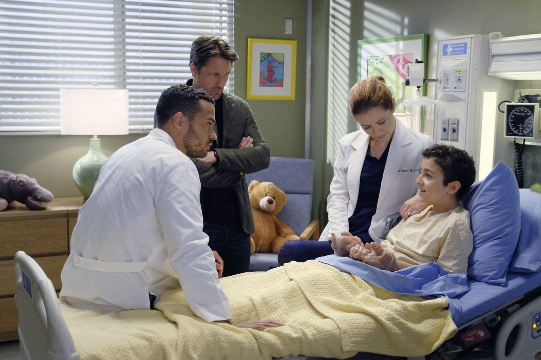 April (Sarah Drew, 2.v.r.) und Dr. Nathan Riggs (Martin Henderson, 2.v.l.) hoffen, dass Jackson (Jesse Williams, l.) dem kleinen Kamal (Elisha Henig... - Bildquelle: Tony Rivetti ABC Studios