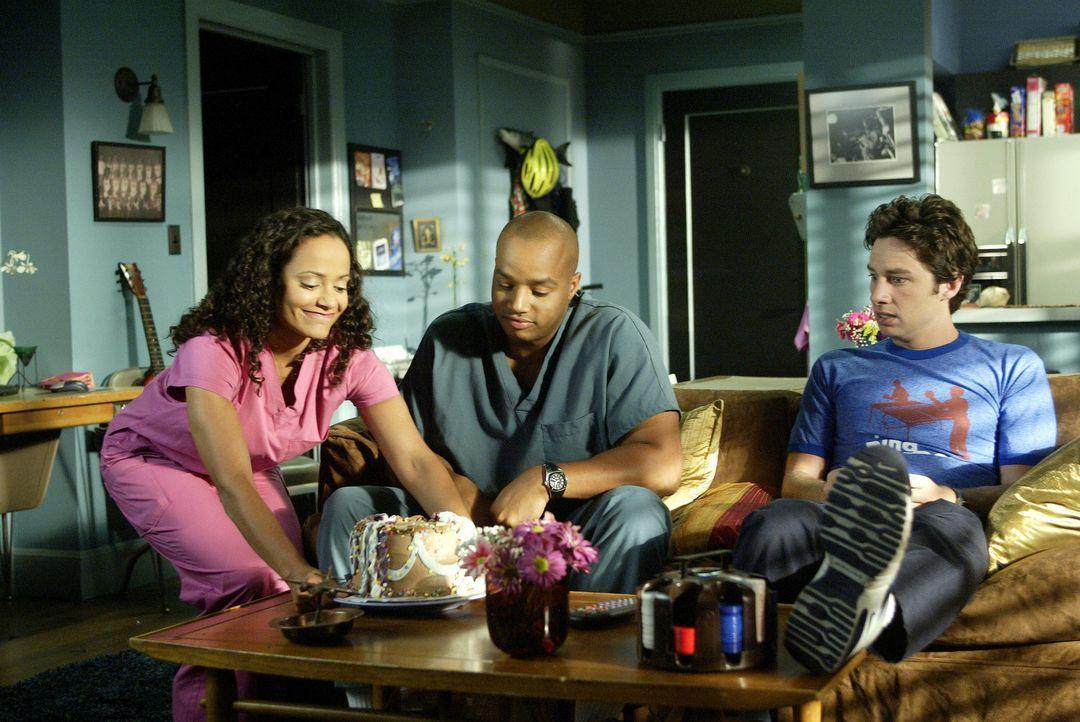 Versuchen ihre Probleme zu bewältigen: J.D. (Zach Braff, r.), Carla (Judy Reyes, l.) und Turk (Donald Faison, M.) ... - Bildquelle: Touchstone Television