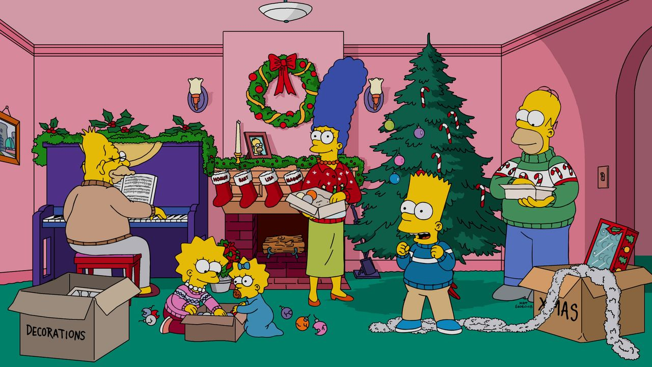 Voller Vorfreude auf Weihnachten bereiten die Simpsons (v.l.n.r.: Abraham, Lisa, Maggie, Marge, Bart und Homer) das große Fest vor, doch es kommt al... - Bildquelle: 2016-2017 Fox and its related entities. All rights reserved.