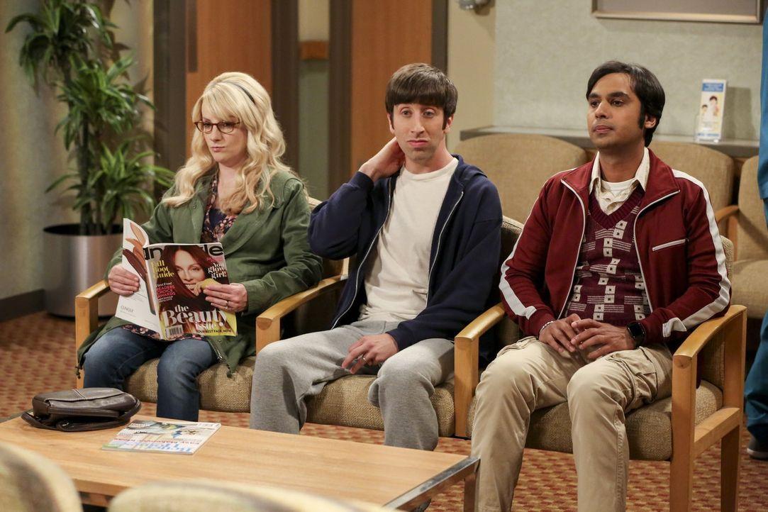 Bernadette (Melissa Rauch, l.) und Raj (Kunal Nayyar, r.) begleiten Howard (Simon Helberg, M.) zu seiner Vasektomie, nicht ahnend, dass schon bald e... - Bildquelle: Warner Bros. Television
