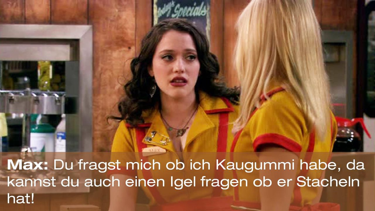 2-broke-girls-zitat-staffel1-episode-21-steuersumpf-max-kaugummi-warnerpng 1600 x 900 - Bildquelle: Warner Brothers Entertainment Inc.
