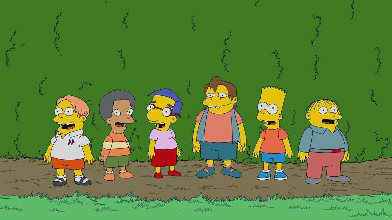 (v.l.n.r.) Martin; Lewis; Milhouse; Nelson; Bart; Ralph - Bildquelle: 2021 by 20th Television.