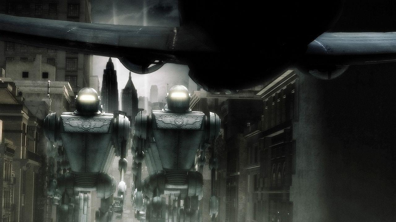 Während Polly sich mit einem Informanten in der Radio City Hall trifft, wird New York plötzlich von riesigen Robotern angegriffen ... - Bildquelle: TM & Copyright   Brooklyn Films II And Filmauro S.R.L.