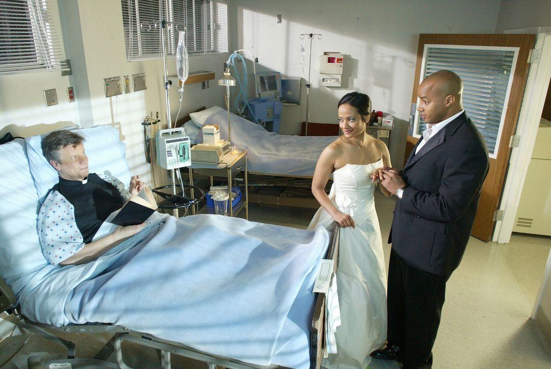 Endlich ist es soweit: Turk (Donald Faison, r.) und Carla (Judy Reyes , M.) werden heiraten, doch es versteht sich von selbst, dass die Trauung der... - Bildquelle: Touchstone Television