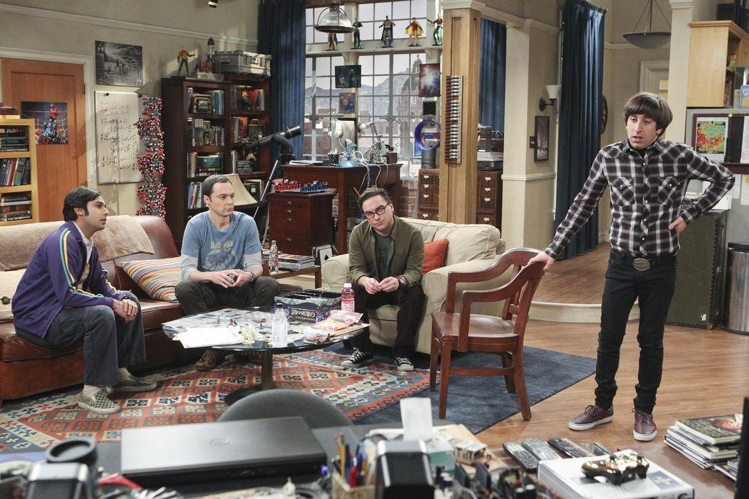 Howard (Simon Helberg, r.) hat eine Neuigkeit für seine Freunde Leonard (Johnny Galecki, 2.v.r.), Raj (Kunal Nayyar, l.) und Sheldon (Jim Parson, 2.... - Bildquelle: 2016 Warner Brothers