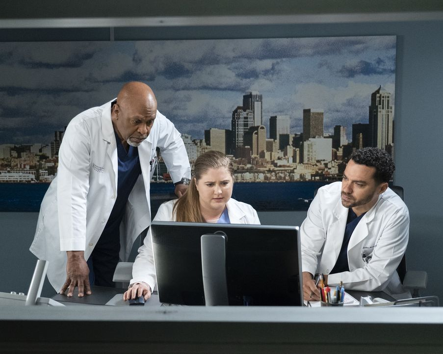 (v.l.n.r.) Dr. Richard Webber (James Pickens Jr.); Dr. Taryn Helm (Jaicy Elliot); Dr. Jackson Avery (Jesse Williams) - Bildquelle: Eric McCandless ABC Studios