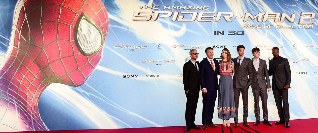 spiderman2-premiere-berlin-Tolmach-Webb-Stone-Garfield-DeHaan-Foxx-140415-AFP - Bildquelle: AFP