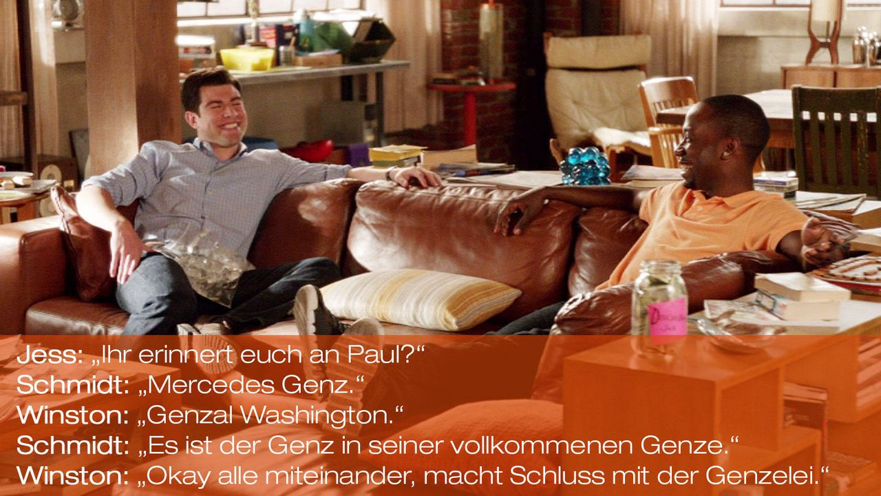 New Girl - Zitate - Staffel 1 Folge 23: 05 - Schmidt (Max Greenfield), Winston (Lamorne Morris) - Bildquelle: 20th Century Fox