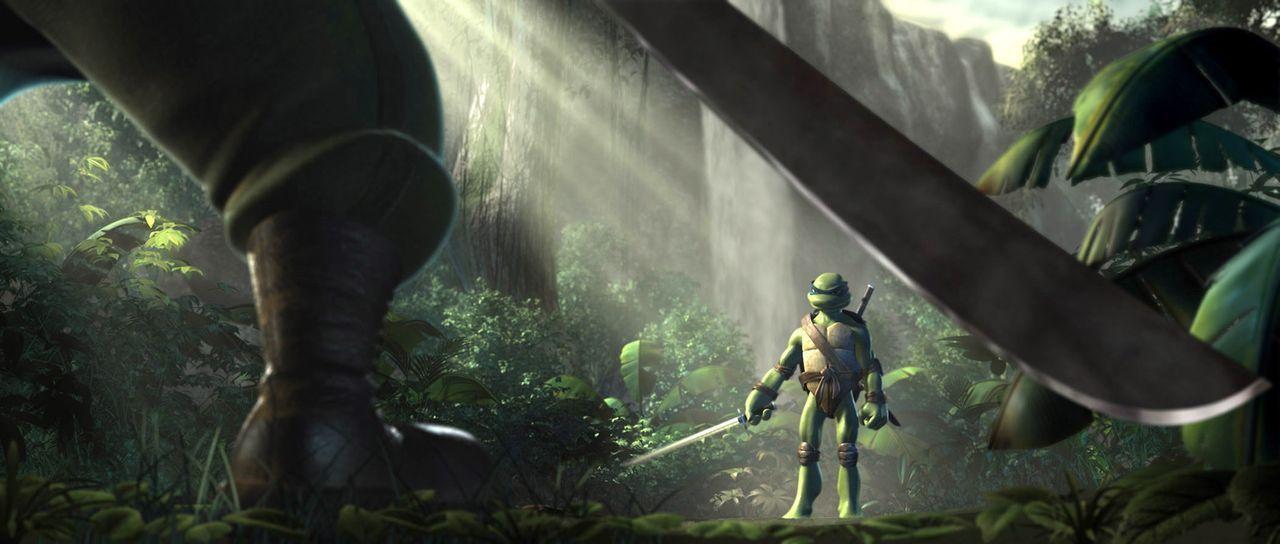 Leonardo, der älteste der Ninja-Turtles, hat New York verlassen und versucht im Dschungel, seine Kampftechniken zu verbessern, um nach seiner Rück... - Bildquelle: TOBIS Filmkunst GmbH