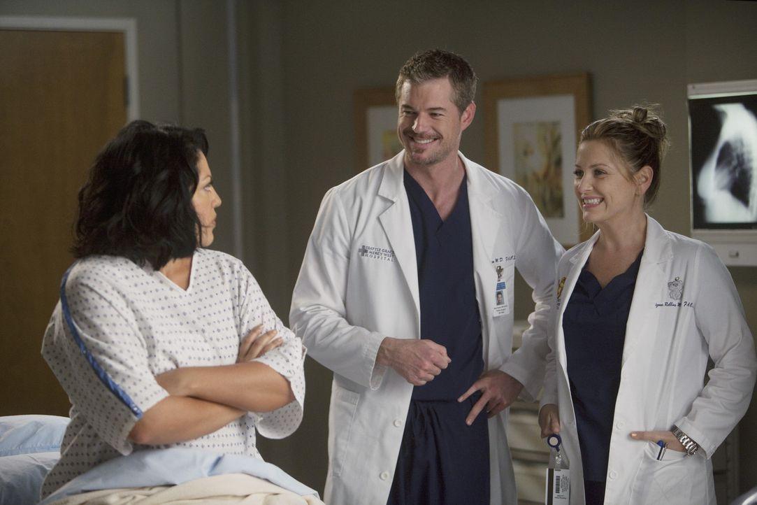 Müssen sich mit der neuen Situation abfinden: Callie (Sara Ramirez, l.), Mark (Eric Dane, M.) und Arizona (Jessica Capshaw, r.) ... - Bildquelle: ABC Studios