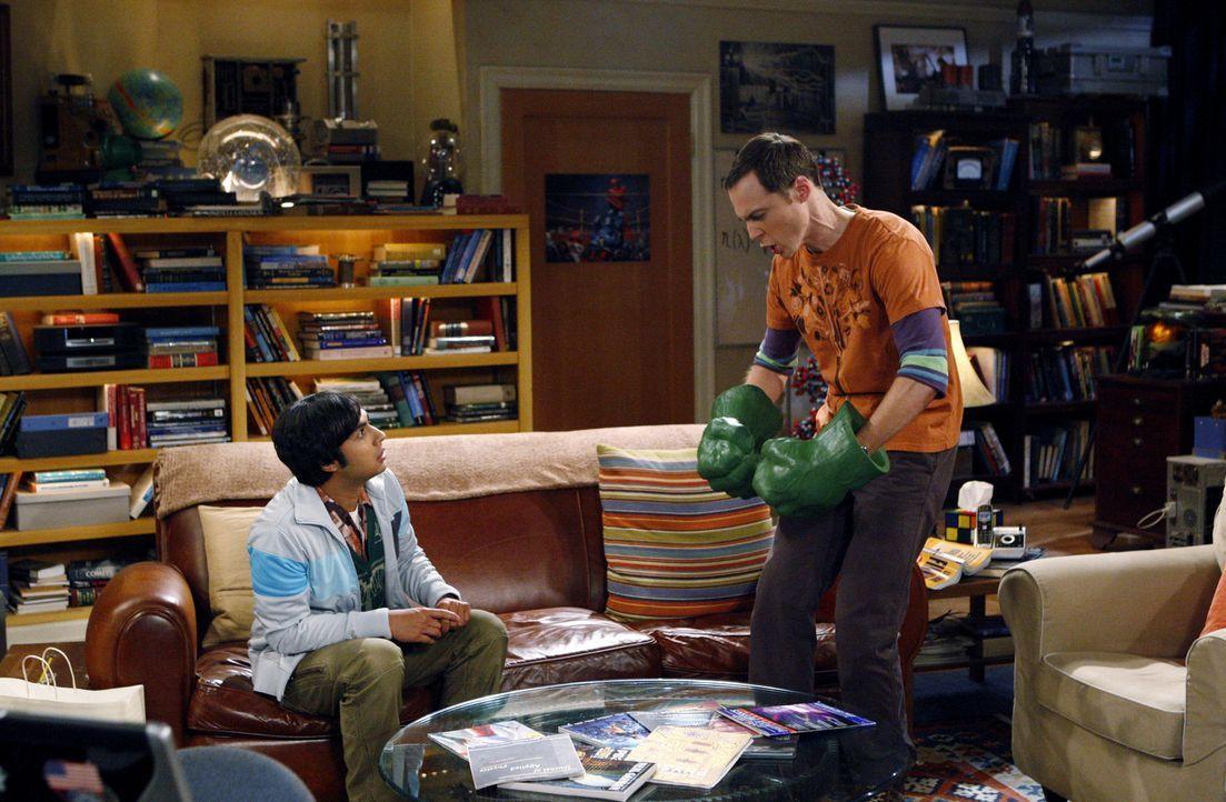 Während Leonard und Howard ein Doppeldate mit Penny und Bernadette haben, bequatschte Raj (Kunal Nayyar, l.) Sheldon (Jim Parsons, r.), mit ihm aus... - Bildquelle: Warner Bros. Television