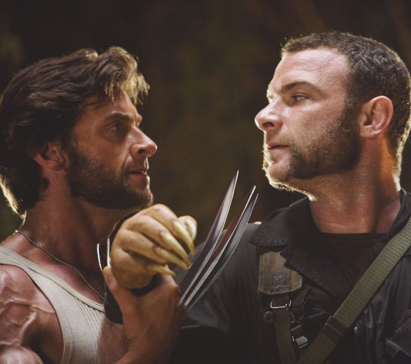 Wolverine (Hugh Jackman, l.); Victor Creed (Liev Schreiber, r.) - Bildquelle: James Fisher 2009 Twentieth Century Fox Film Corporation. All rights reserved. X-Men Character Likenesses TM & © 2009 Marvel Characters, Inc. All Rights Reserved / James Fisher