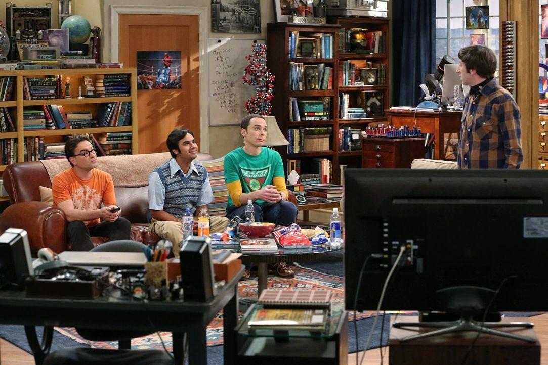 Ganz besondere Freunde: Leonard (Johnny Galecki, l.), Sheldon (Jim Parsons, 2.v.r.), Howard (Simon Helberg, r.) und Raj (Kunal Nayyar, 2.v.l.) ... - Bildquelle: Warner Brothers