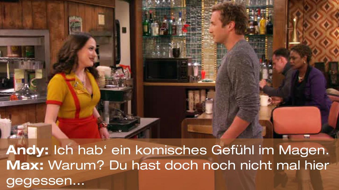 2-broke-girls-zitat-quote-staffel2-episode11-geschaeftspartnerin-max-magen-warnerpng 1600 x 900 - Bildquelle: Warner Bros. International Television