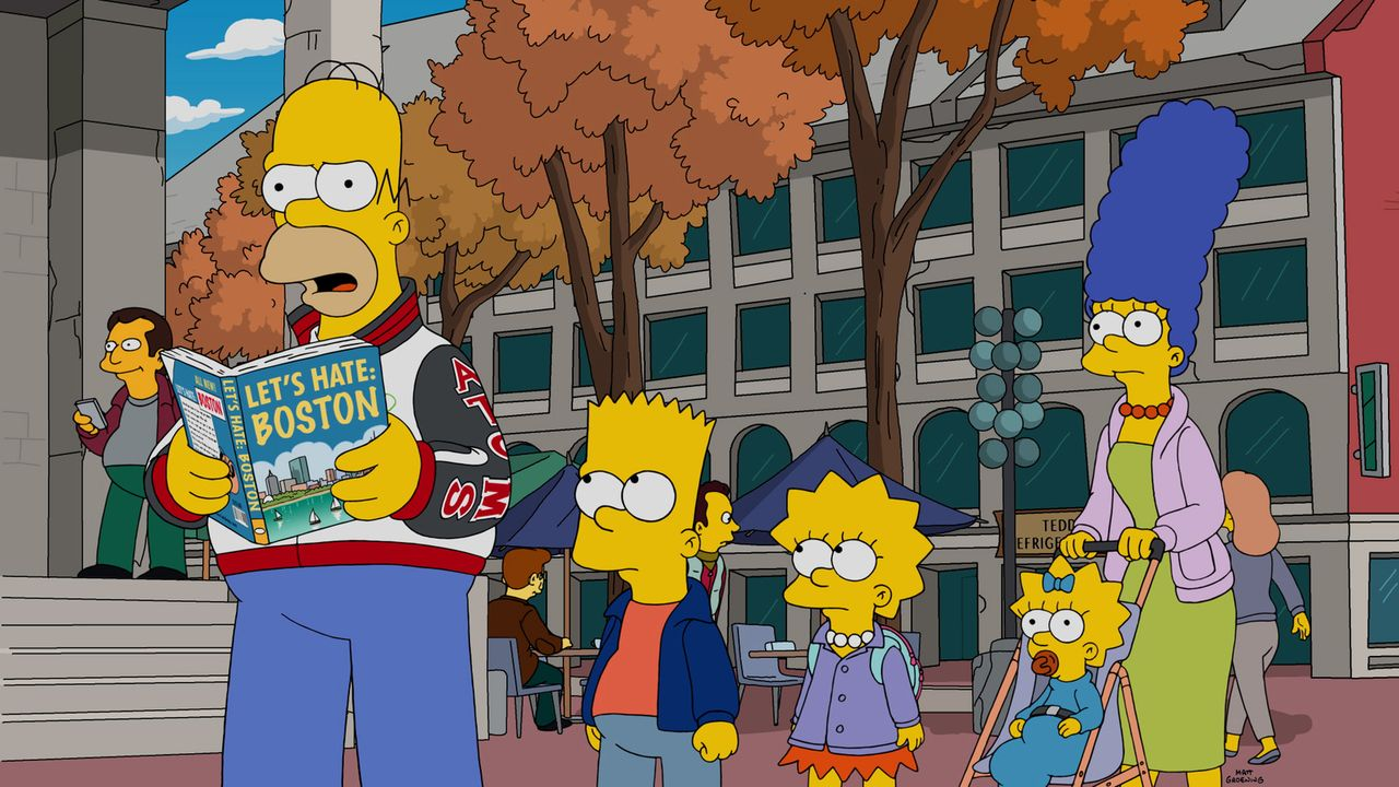 Homer (l.) ist fest davon überzeugt, dass Boston eine grausame Stadt sei. Nun möchte er diese Weisheit auch gerne an seine Familie (v.l.n.r.) Bart,... - Bildquelle: 2016-2017 Fox and its related entities. All rights reserved.