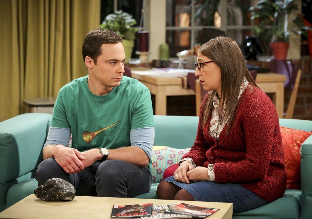 Sheldon (Jim Parsons, l.) fühlt sich schlecht, nachdem er Bert vor den Kopf gestoßen hat und hofft auf einen Ratschlag von Amy (Mayim Bialik, r.) ..... - Bildquelle: Warner Bros. Television