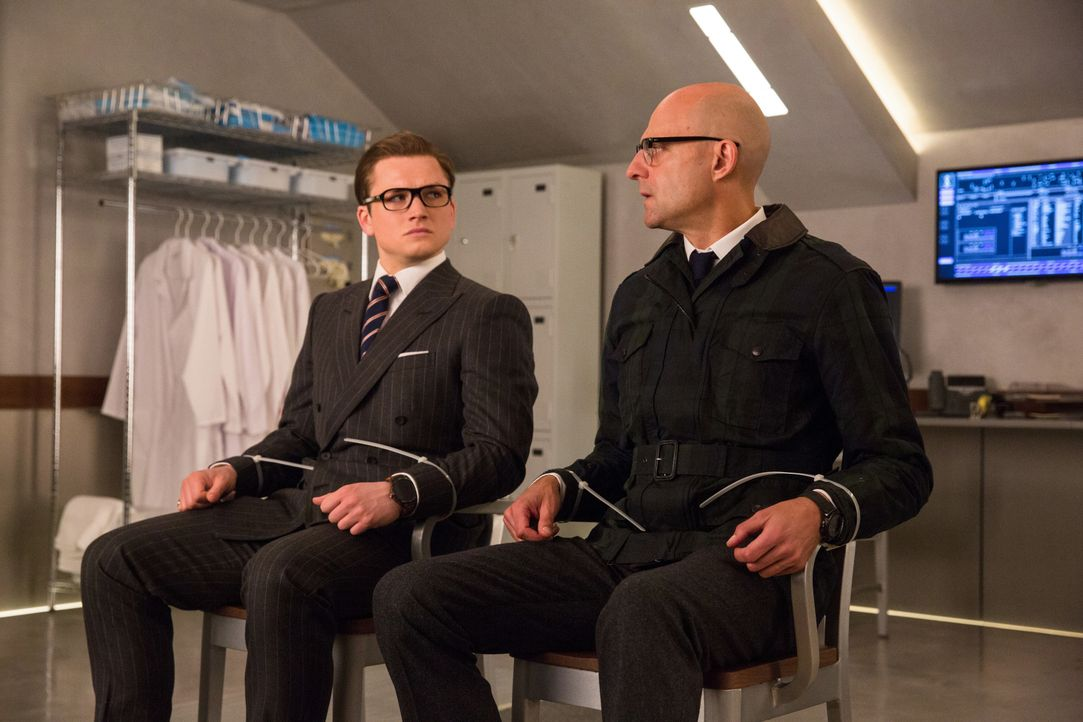 Eggsy (Taron Egerton, l.); Merlin (Mark Strong, r.) - Bildquelle: Giles Keyte 2017 Twentieth Century Fox Film Corporation. All rights reserved. / Giles Keyte