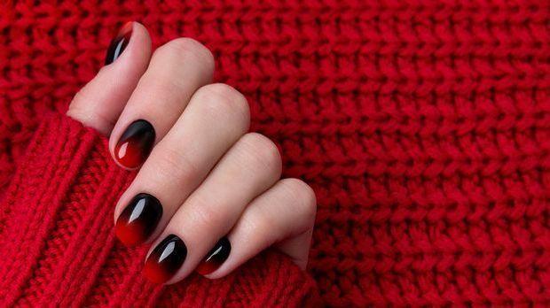 Ombre Nails in Rot und Braun - Nagellacktrend für Steinbock
