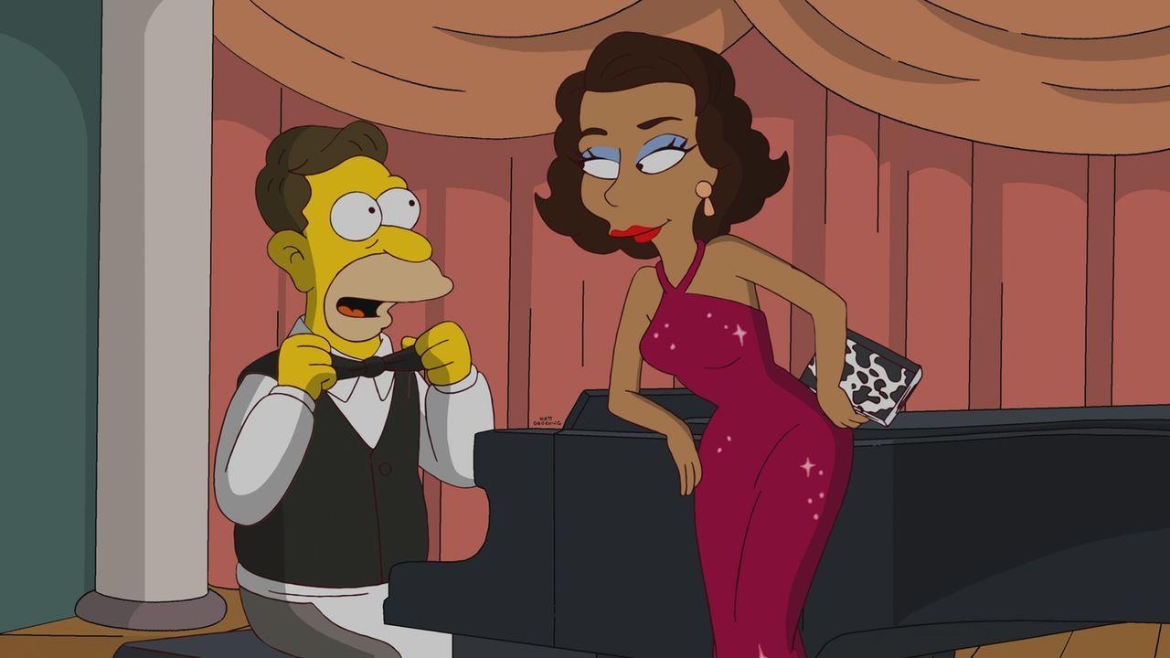 Auf der Suche nach Grampa (l.) finden Homer und Marge heraus, dass er mal mit der Sängerin Rita LaFleur (r.) verheiratet war ... - Bildquelle: und TM Twentieth Century Fox Film Corporation - Alle Rechte vorbehalten