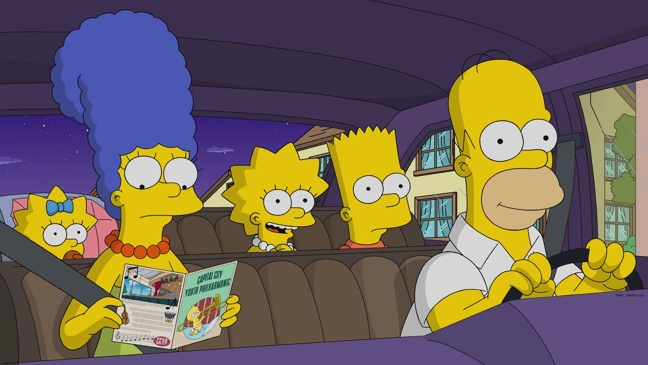 (v.l.n.r.) Maggie; Marge; Lisa; Bart; Homer - Bildquelle: 2018-2019 Fox and its related entities.  All rights reserved.