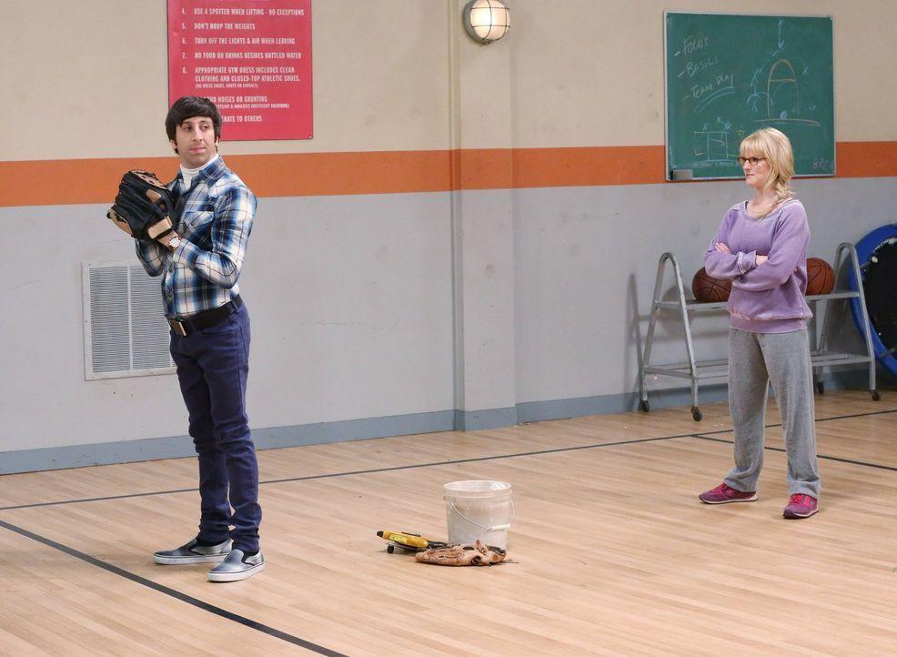 Trainieren gemeinsam für das besondere Ereignis: Howard (Simon Helberg, l.) und Bernadette (Melissa Rauch, r.) ... - Bildquelle: Warner Brothers