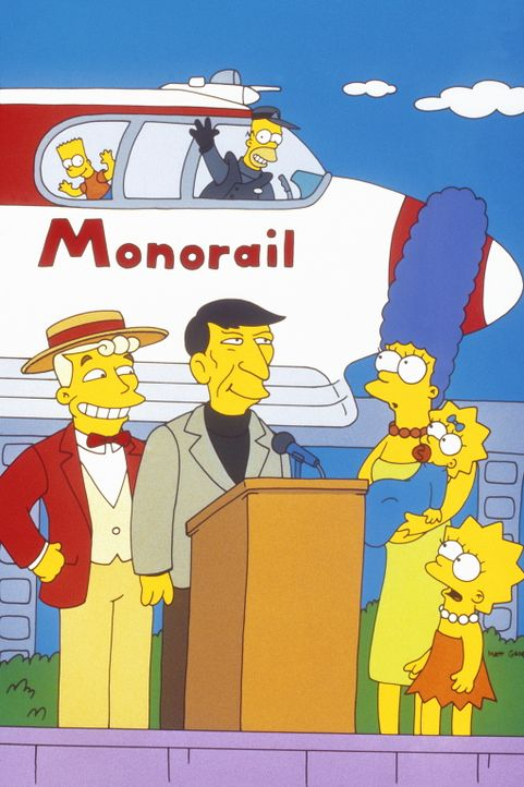 Die  Einschienenbahn wird von Mr. Lanley (l.) und Leonard Nimoy (2.v.l.) eingeweiht. Marge (3.v.r.), Lisa (r.), Bart (oben l.) und Maggie (2.v.r.) s... - Bildquelle: und TM Twenthieth Century Fox Film Corporation - Alle Rechte vorbehalten