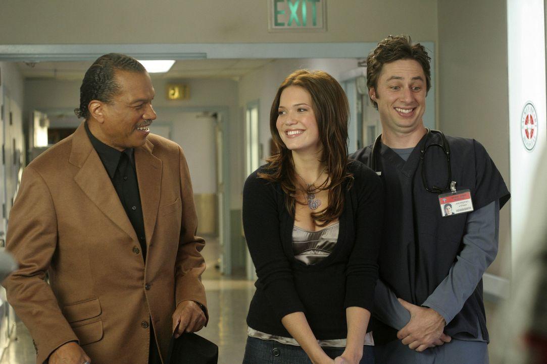 J.D. (Zach Braff, r.) und Julie (Mandy Moore, M.) haben es mit einem besonderen Menschen zu tun, nämlich mit Billy Dee Williams (Billy Dee Williams... - Bildquelle: Touchstone Television