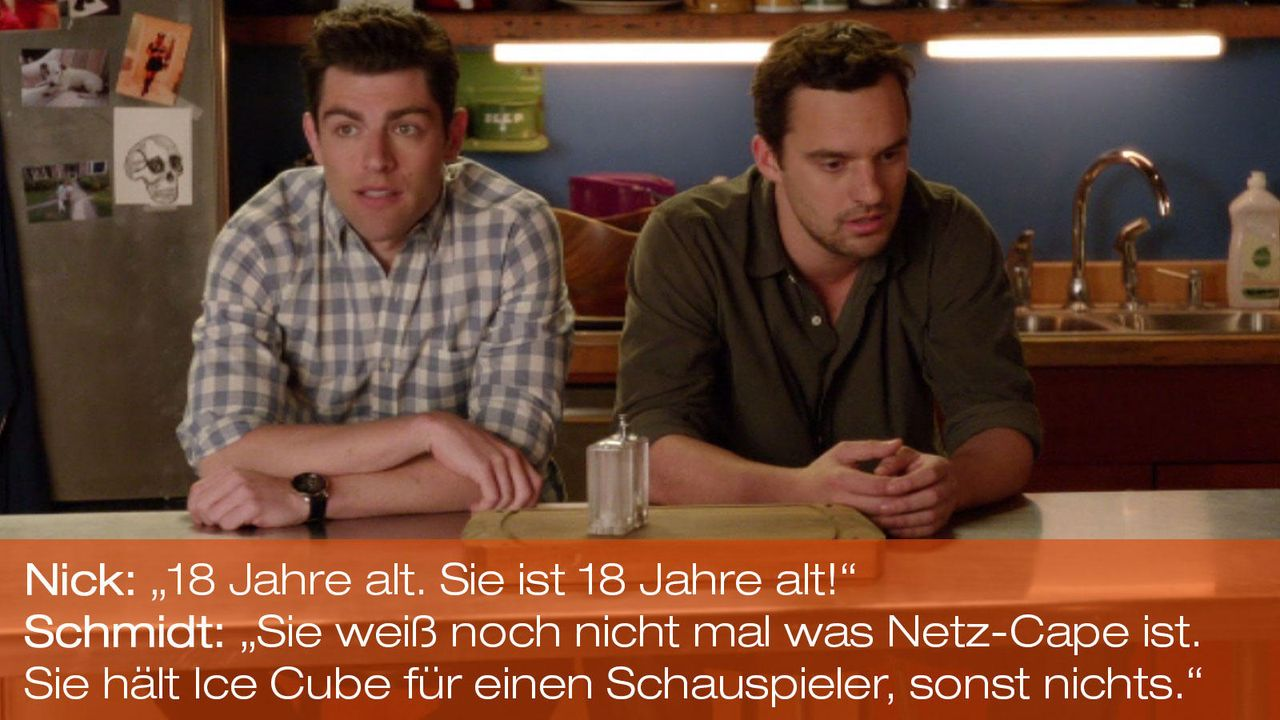 New Girl - Zitate - Staffel 1 Folge 21 - Schmidt (Max Greenfield), Nick (Jake Johnson) - Bildquelle: 20th Century Fox