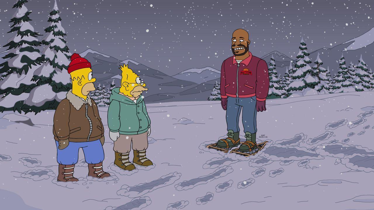 Auf ihrer Suche nach Bart treffen Homer (l.) und Grandpa (M.) auf den Basketballer Shaquille O'Neil (r.). Kann er ihnen helfen, den verschollenen So... - Bildquelle: 2017-2018 Fox and its related entities.  All rights reserved.