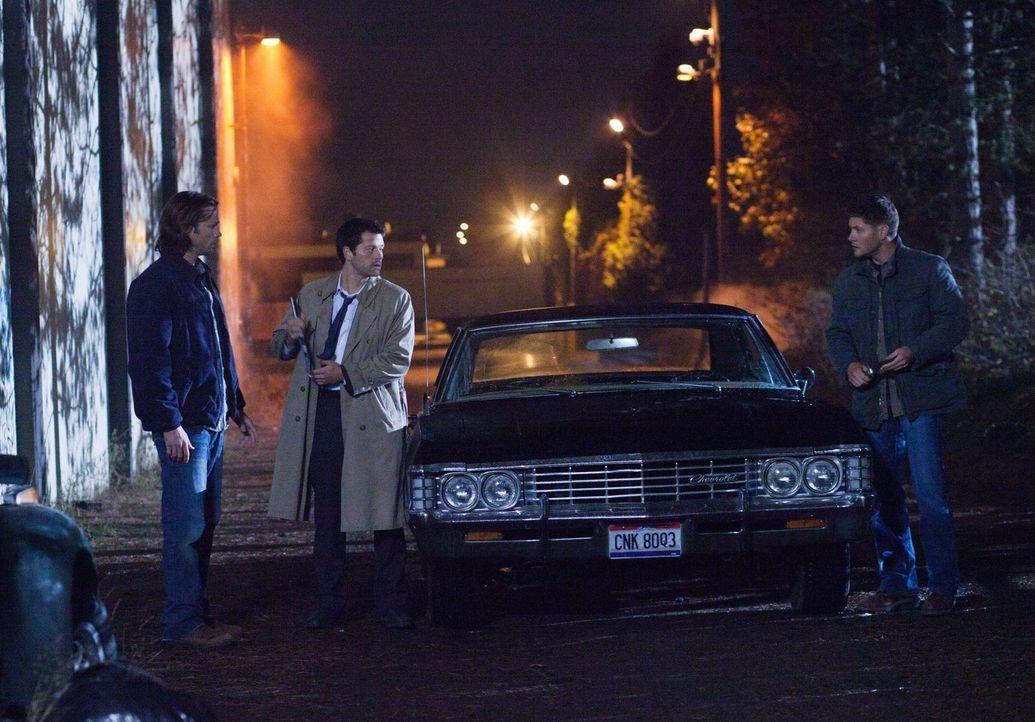 Mit der Hilfe von Sam (Jared Padalecki, l.) und Dean (Jensen Ackles, r.) will Cas (Misha Collins, M.) verhindern, dass alle Geheimnisse der Engel in... - Bildquelle: Warner Bros. Television