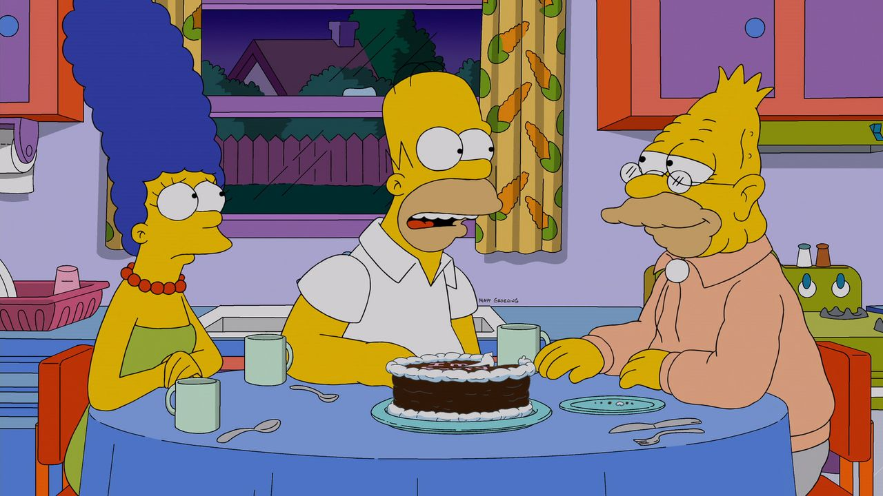 Marge (l.) und Homer (M.) machen sich schwere Vorwürfe, weil sie ein kleines Mädchen dafür bezahlt haben, dass sie Lisas Freundin wird. Doch Grampa... - Bildquelle: 2013 Twentieth Century Fox Film Corporation. All rights reserved.