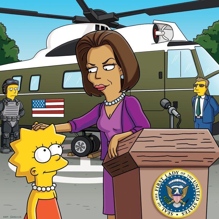 Lisa (l.) trifft auf Michelle Obama, die First Lady von Amerika (r.), die sie ermutigt ein geistiger Überflieger zu bleiben ... - Bildquelle: und TM Twentieth Century Fox Film Corporation - Alle Rechte vorbehalten