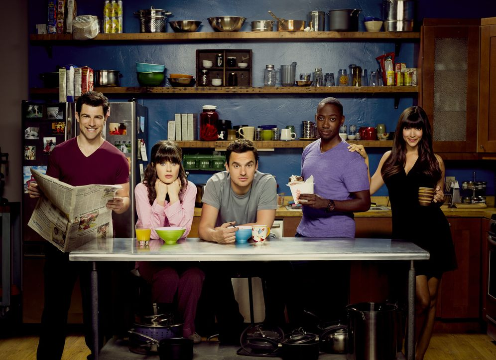 (3. Staffel) - Cece (Hannah Simone, r.), Nick (Jake Johnson, M.), Winston (Lamorne Morris, 2.v.r.) und Schmidt (Max Greenfield, l.) haben es nicht i... - Bildquelle: TM &   2013 Fox and its related entities. All rights reserved.