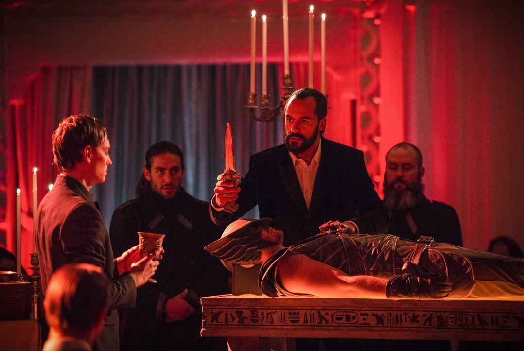 Was hat Vandal Savage (Casper Crump, M.) mit dem Körper von Carter alias Hawkman (Falk Hentschel, liegend) vor? - Bildquelle: 2015 Warner Bros.