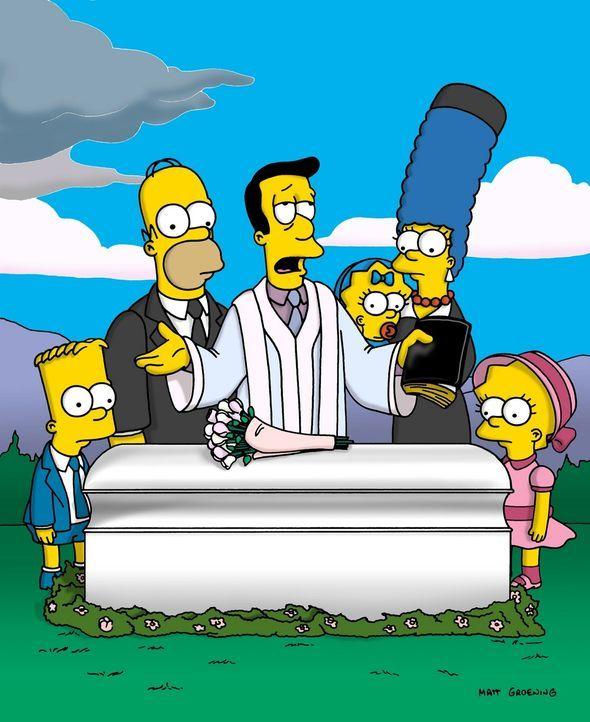 Reverend Lovejoy (M.) hält die Grabrede bei Maudes Beerdigung. Familie Simpson steht ihm bei. - Bildquelle: und TM Twenthieth Century Fox Film Corporation - Alle Rechte vorbehalten