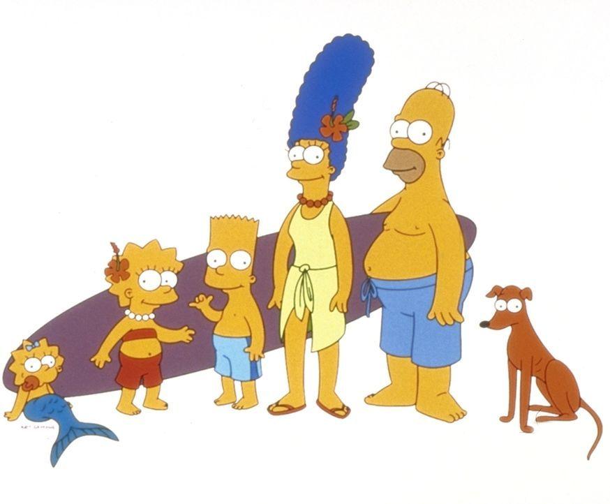 (11. Staffel) - Gemeinsam ist die Familie Simpson unschlagbar: Lisa (2.v.l.), Homer (2.v.r.), Bart (3.v.l.), Hund Knecht Ruprecht (r.) Marge (3.v.r.... - Bildquelle: und TM Twentieth Century Fox Film Corporation - Alle Rechte vorbehalten