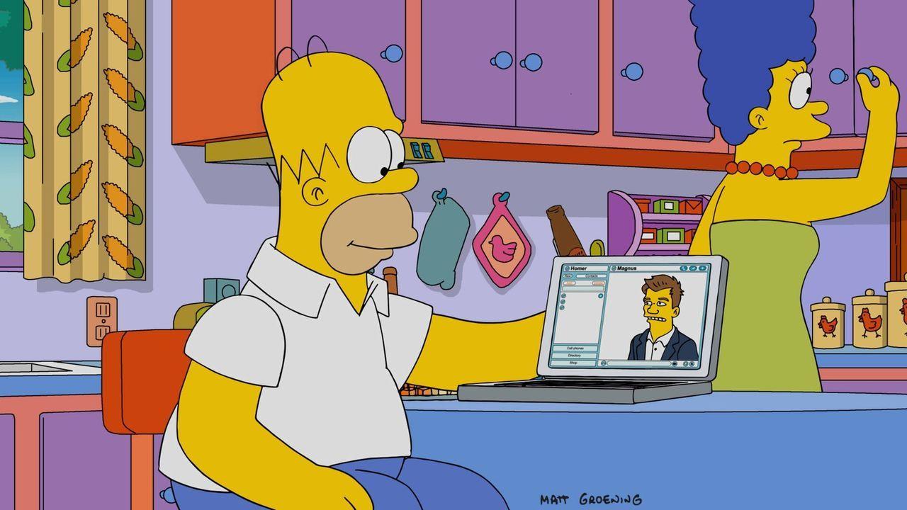 Marge (r.) kann nicht mit ansehen, wie ihr Mann Homer (l.) leidet und knüpft den Kontakt zum Schachmeister Magnus, um ihm zu helfen ... - Bildquelle: 2016-2017 Fox and its related entities. All rights reserved.