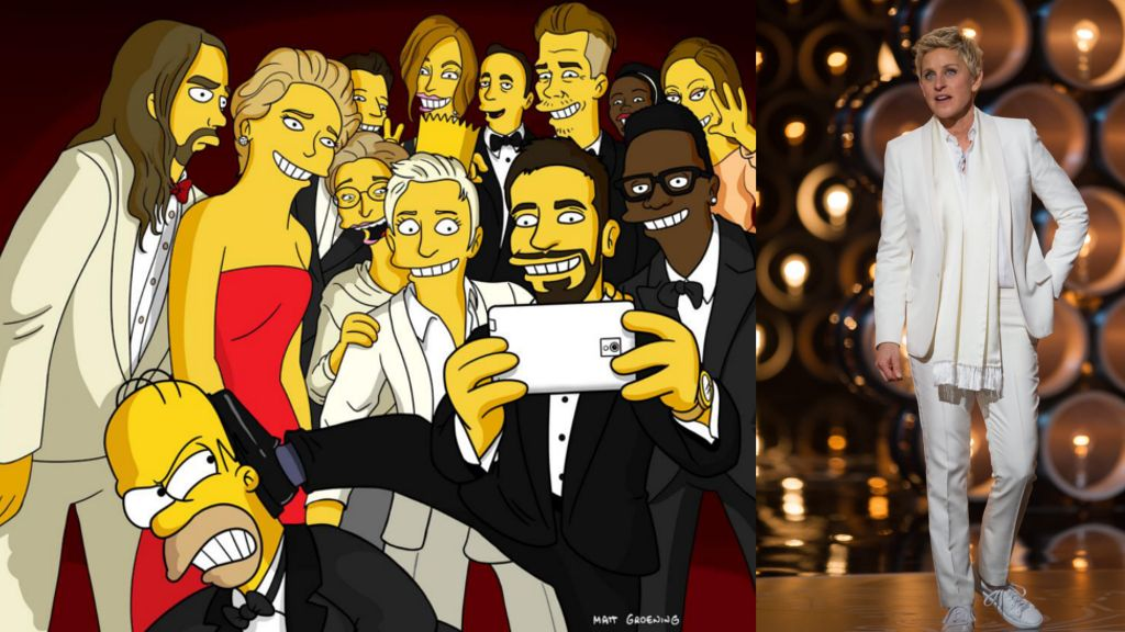 """Oscars 2014"" mit Ellen DeGeneres: Simpsons parodieren Star-Selfie - Bildquelle: Twitter/HomerJSimpson, dpa"