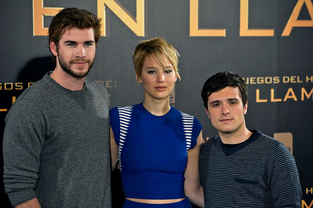 Liam-Hemsworth-Jennifer-Lawrence-Josh-Hutcherson-Catching-Fire-Premiere-Madrid-13-11-13-AFP - Bildquelle: AFP ImageForum