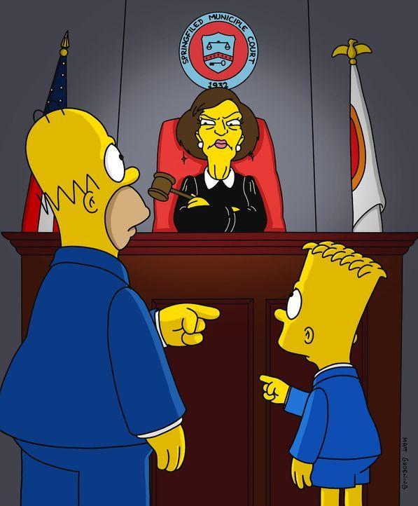 Richterin Harm (M.) sieht in diesem Vorfall eine grobe Vernachlässigung der elterlichen Aufsichtspflicht und verurteilt Homer (l.) dazu, mit einem S... - Bildquelle: und TM Twenthieth Century Fox Film Corporation - Alle Rechte vorbehalten