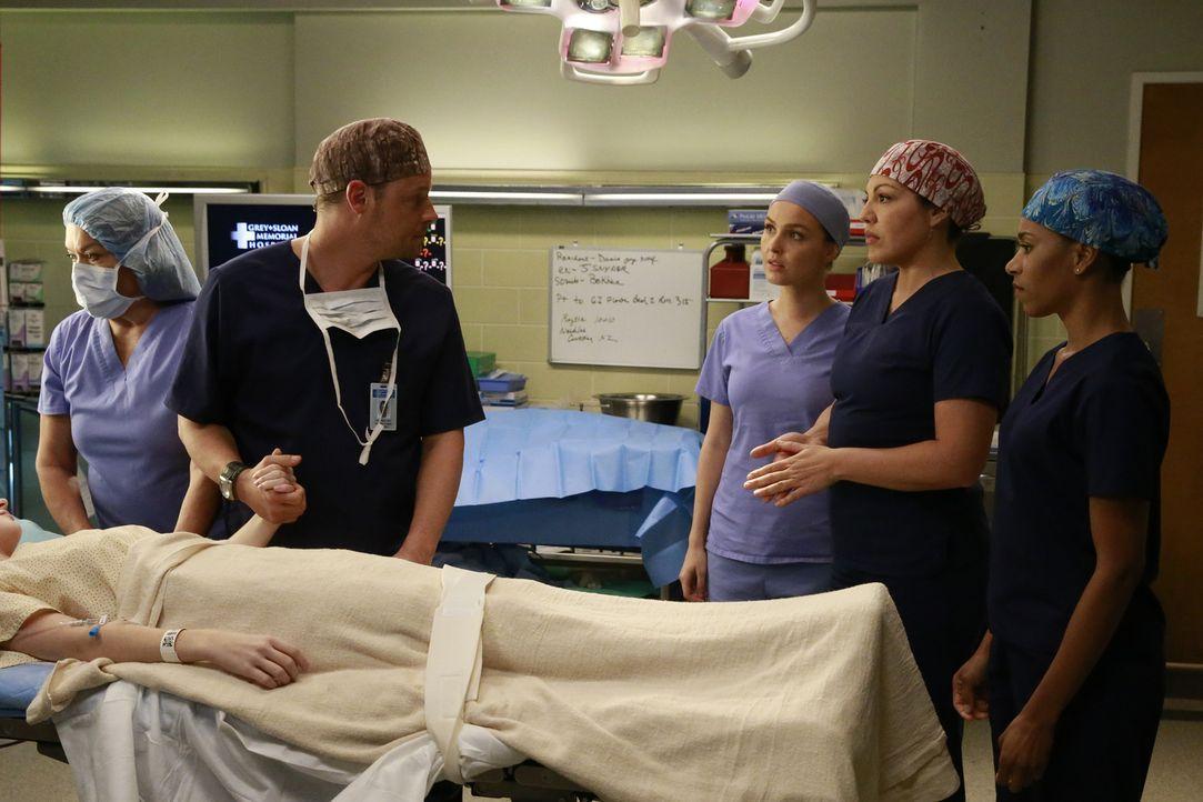 Über die Behandlung von Maya sind sich Alex (Justin Chambers, 2.v.l.), Callie (Sara Ramirez, 2.v.r.), Maggie (Kelly McCreary, r.) und Jo (Camilla Lu... - Bildquelle: Michael Hassan ABC Studios