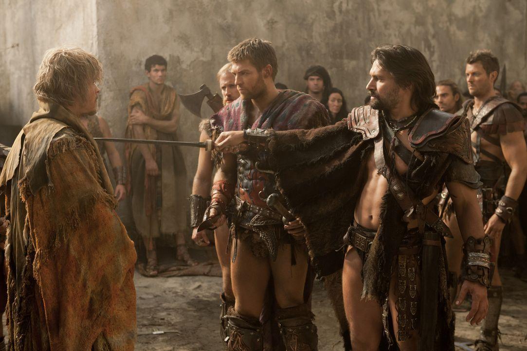 Obwohl Spartacus (Liam McIntyre, 2.v.r.) und Crixus (Manu Bennett, r.) befürchten, dass sich unter den flüchtenden Sklaven ein Spion befinden könnte... - Bildquelle: 2012 Starz Entertainment, LLC. All rights reserved.